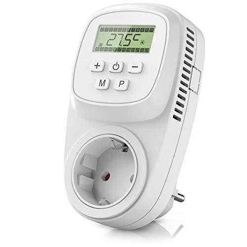 CSL-Computer Thermostat digital - Steckerthermostat - Steckdosen Thermostat für Heizgeräte Infrarotheizungen - Frostwächter Backup Batterie - energieeffizient 0,3W - benutzeroptimierte Anleitung