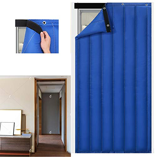 Thermal Insulated Door Curtain GGYMEI Cotton Curtain Oxford Cloth Insulation Thickening Curtain Patio Windproof Waterproof Soundproof Curtain, Customizable (Color : Blue, Size : 120x200cm)