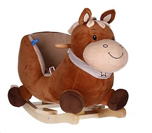 Bieco Plüsch Schaukeltier Pferd Calimero 60cm | Kinder Schaukelstuhl mit Sicherheitsgurt | Baby Schaukel | Schaukel Kleinkind | Schaukeltier Baby | Baby Schaukelwippe ab 9 Monate | Schaukelpferd Holz