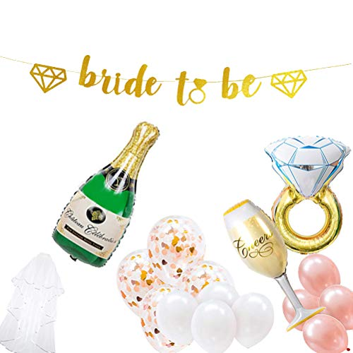 party decoratieset bachelorette moments bruidsdouche accessoires bruidssieraden slijp ringfolie rozenballonnen goud glitter bont banner pop met latexballon the champagne she is change your naam roze