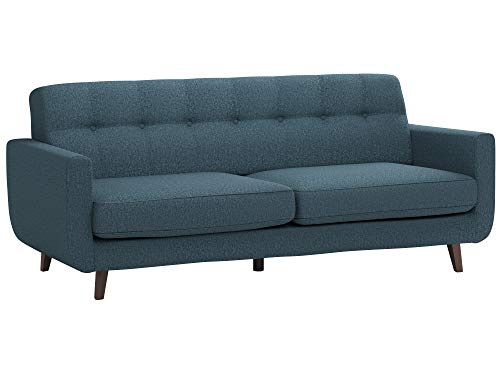 "Rivet Sloane Mid-Century Modern Sofa with Tufted Back, 79.9""W, Denim"