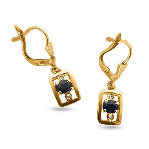 Orecchini Donna Oro Giallo 18Ct 750 Pendenti Con Zaffiri Naturali 0.80Ct E Diamanti 0,02Ct Orecchini Regalo Donna Classici