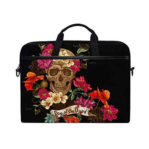DOSHINE Laptop Bag Case Sleeve Floral Sugar Skull Day of The Dead Notebook Computer Bag for 14-14.5 inch Adjustable Shoulder Strap, Back to School Gifts for Men Women Boy Girls