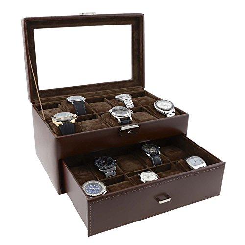 Estuche de Piel para 20 Relojes Talla: U Color: Marron