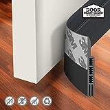 Holikme Door Draft Stopper Under Door Draft Blocker Insulator Door Sweep Weather Stripping Noise Stopper Strong Adhesive 39' Length Black
