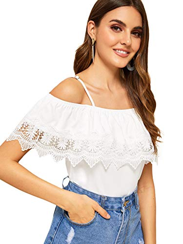 SweatyRocks Women's Spaghetti Strap Cold Shoulder Tops Short Sleeve Lace Trim Shirt Blouse White M