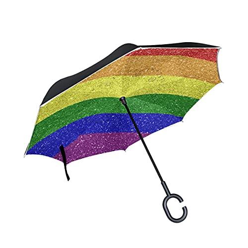 Paraguas plegables Vintage Rainbow Chevron Paraguas plegables inversos a prueba de viento UV con mango en forma de C
