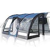 your GEAR Wohnwagenvorzelt Verona 390 Caravan Zelt Teilvorzelt UV 50+ Schutz wasserdicht 5000mm Reisevorzelt Blau Grau
