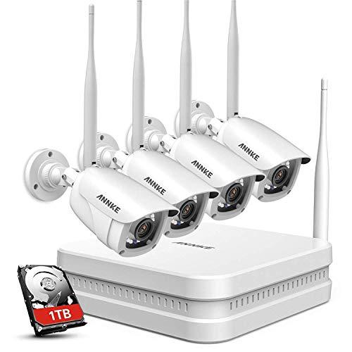 ANNKE 1080P Überwachungskamera Set,8CH drahtloses H.264+ CCTV Videoüberwachung NVR Sicherheitskamera System Wasserfesten 4*1080P IP Kameras Indoor&Outdoor mit 30M Nachtsicht(eingebaute 1TB HDD)
