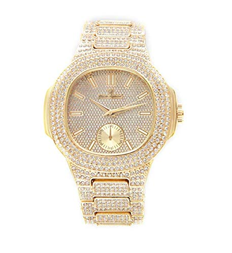 Bust Down AP Watch. Iced Out CZ Diamonds color oro argento AP Hip Hop orologio Jewelry. Rapper Bling Rollie Skelton e Acciaio inossidabile, regolabile