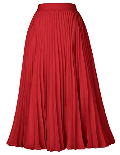 Pleated Flared Elastic Skater Skirt Solid Tea Length Red Size M KK659-4