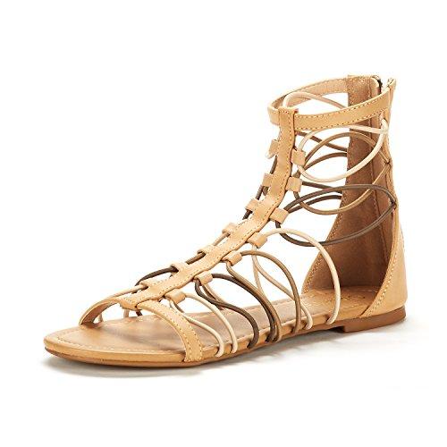 DREAM PAIRS Women's Roman_03 Tan/Multi Fashion Gladiator Design Ankle Strap Flat Sandals Size 6.5 M US