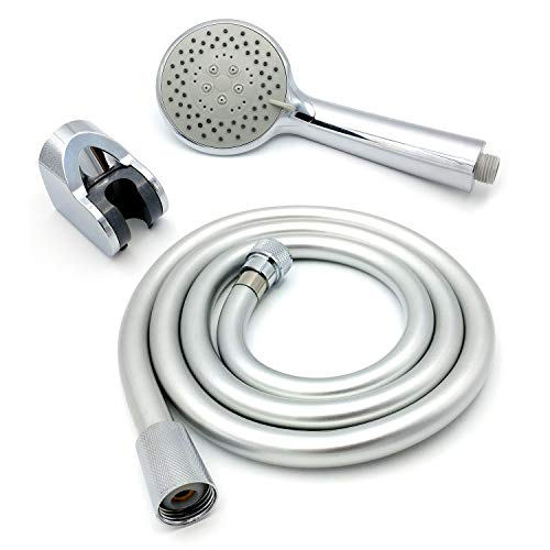 Bath tap Shower Attachment Kit Rose Head, Flexible Stainless Steel Hose And Wall Bracket (SH060) by Grand Taps