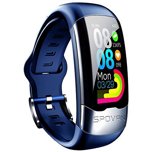Clearlove77 Professionelles EKG-Überwachungsarmband, H02 Smart EKG-Armband EKG-Herzfrequenz-Blutsauerstoff-Blutdruck-Übungsschrittzähler,Blau