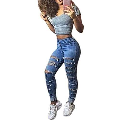 HaiDean Dames Denim Blue Stretch Jeans Distressed Skinny Chic Broeken doorscheurde jeans met gaten Chern Jeans Dames