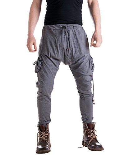 Vishes – Alternative Bekleidung – Leichte Herren Haremshose aus Baumwolle mit hohem Schritt und Tunnelzug grau Einheitsgröße