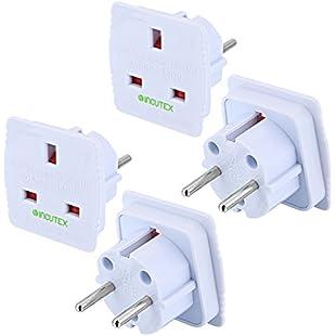 Incutex 2x UK to EU plug adapter uk europe adapter europe travel adaptor, white