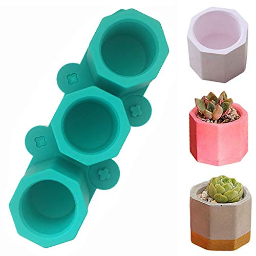 Octagon 3D Plants Pot Mould,Handmade Succulent Plant Flower Pot Mold,3-Heads Candle Soap Bottle DIY Small Molds Garden Decoration Tool,Dark Green,2Pcs