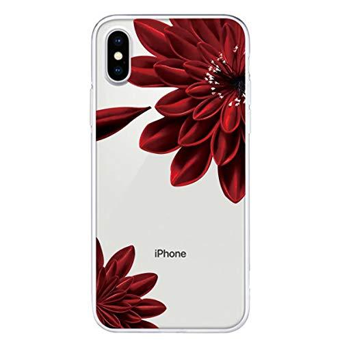 Miagon Transparente Coque pour iPhone XR,Rouge Fleur Motif Créatif Mignon Clair Etui Souple Housse Silicone Antichoc Mince Fine Cover pour Filles Femme