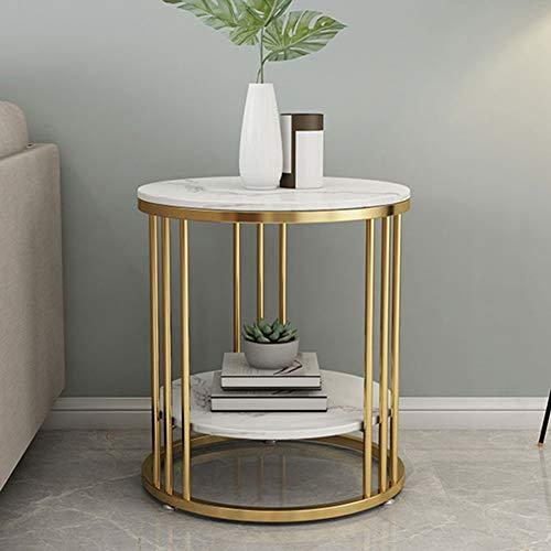 DWGYQ Kleiner Couchtisch aus nordischem Marmor Einfaches Wohnzimmer Sofa Beistelltisch Licht Hotel Schlafzimmer Nachttisch Eisen runden Tisch,Gold