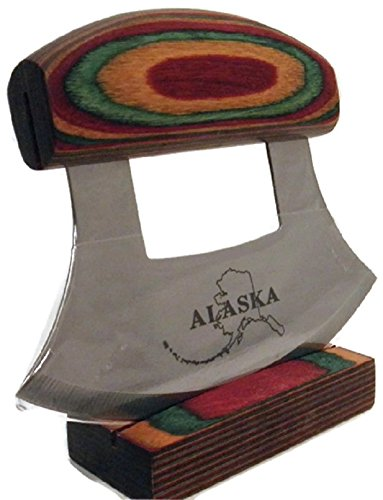 Multi-Colored Exotic Wood Handled Ulu with Stand by Arctic Circle Ent.