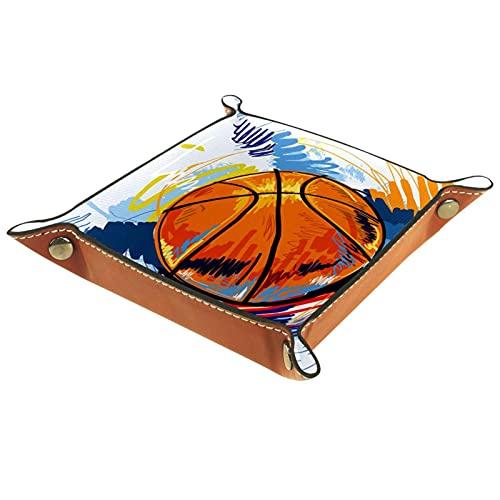 Bandeja de almacenamiento plana, organizador de escritorio para deportes, baloncesto, 2 llaves, teléfono, bandeja Edc, regalos de Navidad para hombres y mujeres, 20,5 x 20,5 cm