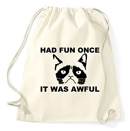 Styletex23 Had Once It was Awful Grumpy Cat Turnbeutel Sportbeutel, Natur