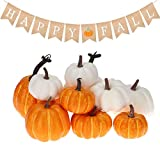 Supremacy Prime 20 Pcs Set Large Artificial Pumpkins/White Pumpkins/Orange Pumpkins/Rustic Happy Fall Banner/Fall Pumpkins for Decoration/Thanksgiving Decor, Halloween & Fall Table Decorations