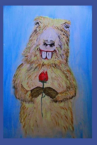 Murmeltier mit einer Rose
