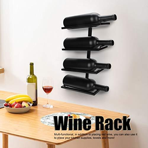 Yisentno Porta Botellas de Vino Tinto, botellero, Estante de Almacenamiento de decoración del hogar para Bodega de Cocina(Inclined Wine Rack 4 Bottles Black)