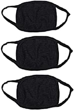 Autoridez Cotton Nylon Bike Face Mask Dust Protection Anti Pollution Air Filter,Standard, Black -Pack of 3