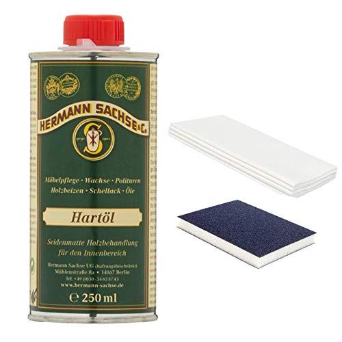Hermann Sachse Hartöl - Farblos - 250ml Set - Holzöl - Möbelöl - Effektiver Holzschutz im Innenbereich - Natürliches Leinöl - Arbeitsplattenöl - mit Universaltuch und Schleifmatte