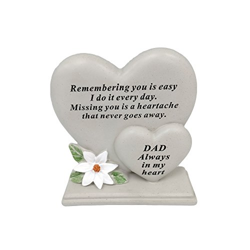 David Fischhoff Dad Double Heart Plaque, Poly Resin, Cream, 17.5 x 5.5 x 19 cm