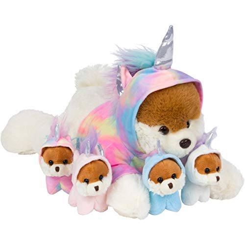 PixieCrush Unicorn Puppy Stuffed Animals for Girls Ages 3 4 5 6 7 8 Years Stuffed Mommy Dog with 4 Baby Puppies in her Tummy Toy Pillows for Girls