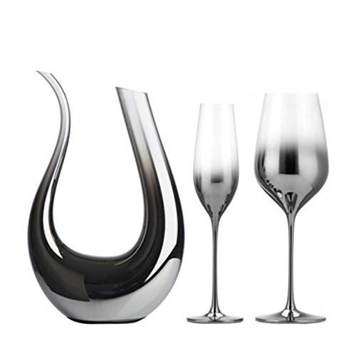 XKMY Juego de copas de vino tinto de cristal galvanizado, gris plateado, degradado, juego de copas de vino americano, modelo metálico, jarra de cóctel de champán (color 3 piezas)