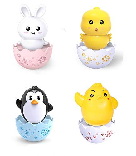 Dreariv Juguete para bebés, muñeco de Pato pingüino Roly-Poly Juguete de Dibujos Animados de Conejo Juguetes educativos temprano Regalos para niños pequeños 4 Piezas