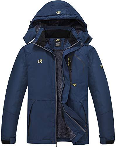 QPNGRP Mens Ski Jacket Winter Windproof Waterproof Snowboarding Coat Navy X-Large
