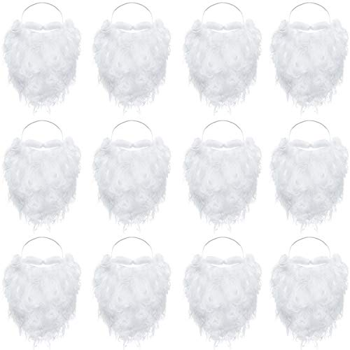 12 Pieces Funny Santa Beard Costume White Fake Beard Christmas Santa Claus Beard Costume Accessories for Boys Girls and Adults Disguise Santa Claus on Christmas Party
