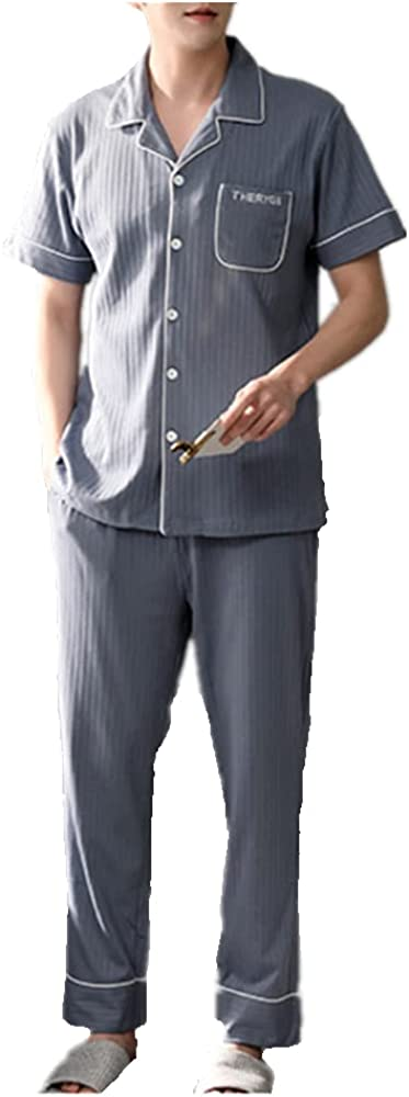 GUBIDIAO Mens Cotton Pajamas Set Sleepwear Loungewear Short Sleeve Button Down Top with Pants 2PCS Sleep Sets