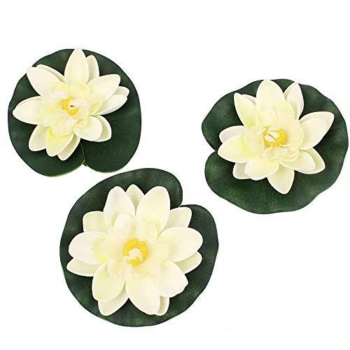 Vektenxi Künstliche Kunststoff Lotus Blumen Gefälschte Schwimmende Seerose Floral Ornamental für Aquarium Teich Pool Verwenden 3 Stücke Weiß