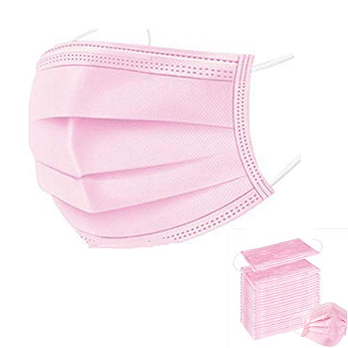 Disposable Face Masks Blue Facemask Face Shield Filter Mask Protective 3-Ply Breathable Comfortable Nose/Mouth Coverings for Home & Office (100PCS, Adult Pink)
