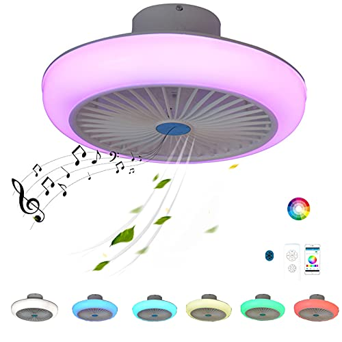 Plafon LED Lampara Ventilador Techo con Luz y Mando a Distancia Inspire Colores RGB Altavoz Bluetooth Música Silencioso Regulable Smart Ventilador Plafon Iluminación Luces Color Air Dormitorio Comedor