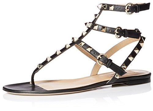Valentino Flache Damen-Sandalen von Rockstud, (schwarz), 36 EU