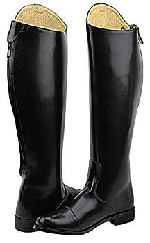 Hispar Women Ladies Stirling Dress Dressage Boots with Back Zipper Riding English Equestrian - Black 10.5 Plus Calf