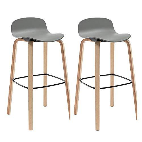 bdb Juego de 2 taburetes de bar de madera de polipropileno, superficie de bar, sillas, marco de madera, taburetes de barra, encimera, taburetes de altura (color: gris)
