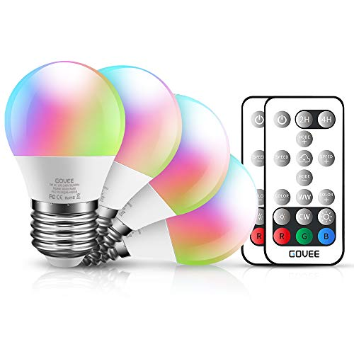 Govee Color Changing Light Bulb with Remote, 3W 300lm RGBW LED Light Bulbs Dimmable, Multicolor Decorative Lighting Bulb for Home, Stage, Party, Warm White 2700K, Cool White 6500K (4 Pack)