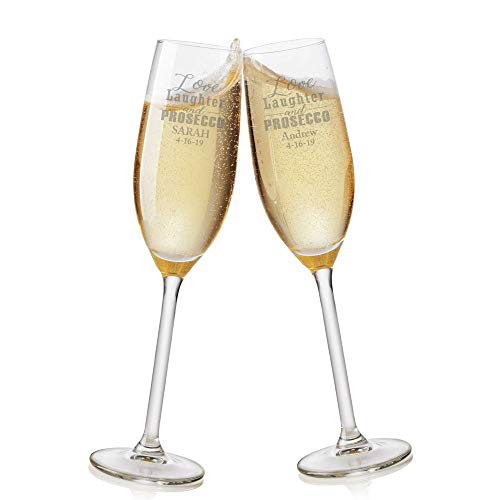 Copas de champán personalizadas con texto en inglés 'Love Laughter and Proseco'