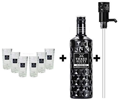 Three Sixty Set Geschenkset ? Three Sixty Black Vodka Wodka 3L 3000ml (42% Vol) + 6x Shotgläser Glas 2 und 4cl geeicht + Pumpe - [Enthält Sulfite]