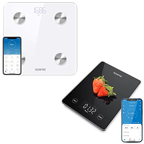 RENPHO Smart Bluetooth Scale, RENPHO Kitchen Scale 22lb/10kg Smart Food Scale, Digital Cooking Scale with Nutrition Calculator, Weight Grams and Ounces