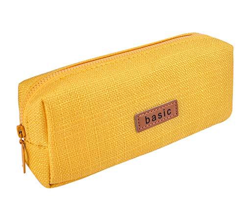 iSuperb Trousses Scolaire Petite Poche Crayon Case Couleur Unie Filles Garcon Pencil Holder (jaune)
